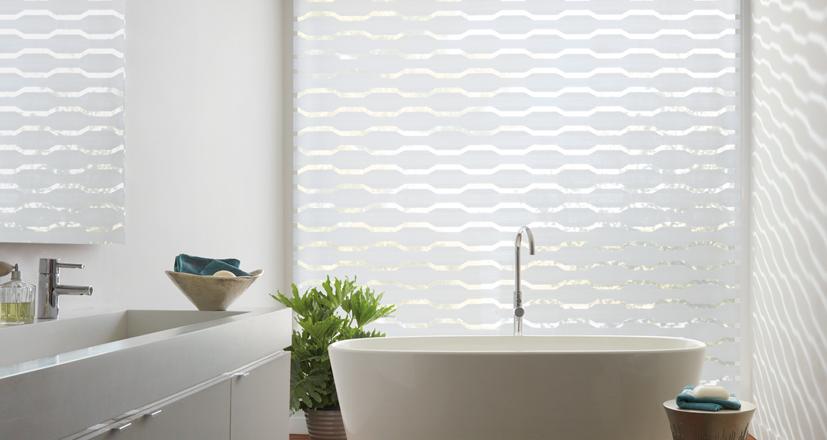 Hunter Douglas designer banded shades geometric designs Chagrin Falls 44022