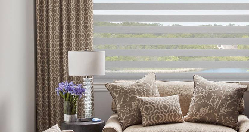 Hunter Douglas designer banded shades living room Rocky River 44116