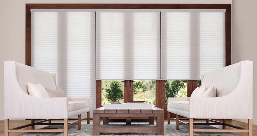 Hunter Douglas sonnette shades white living room custom shades Rocky River 44116