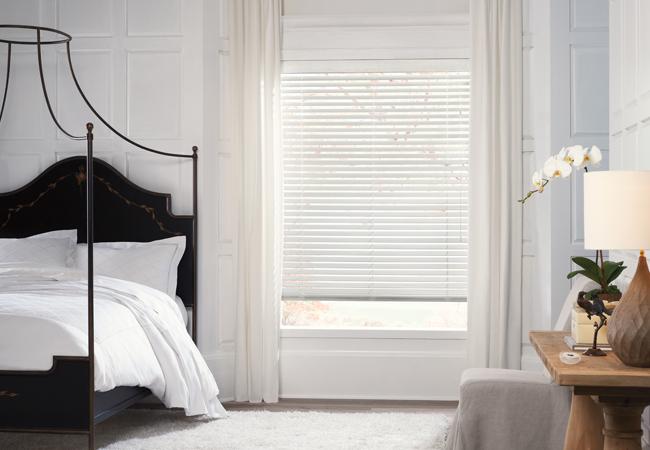 Hunter douglas blinds wood white blinds bedroom