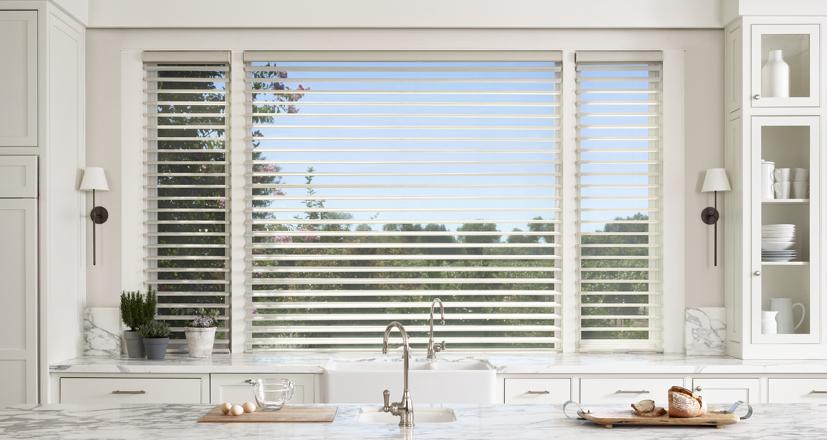 Hunter Douglas kitchen shades silhouette view through