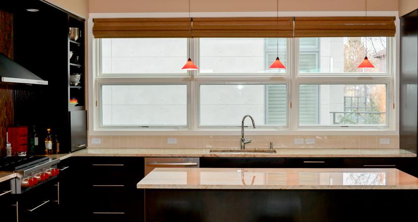 Hunter Douglas rocky river shades kitchen