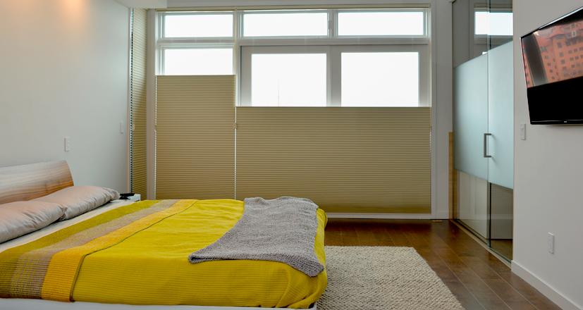 Hunter Douglas honeycomb shades bedroom Rocky River