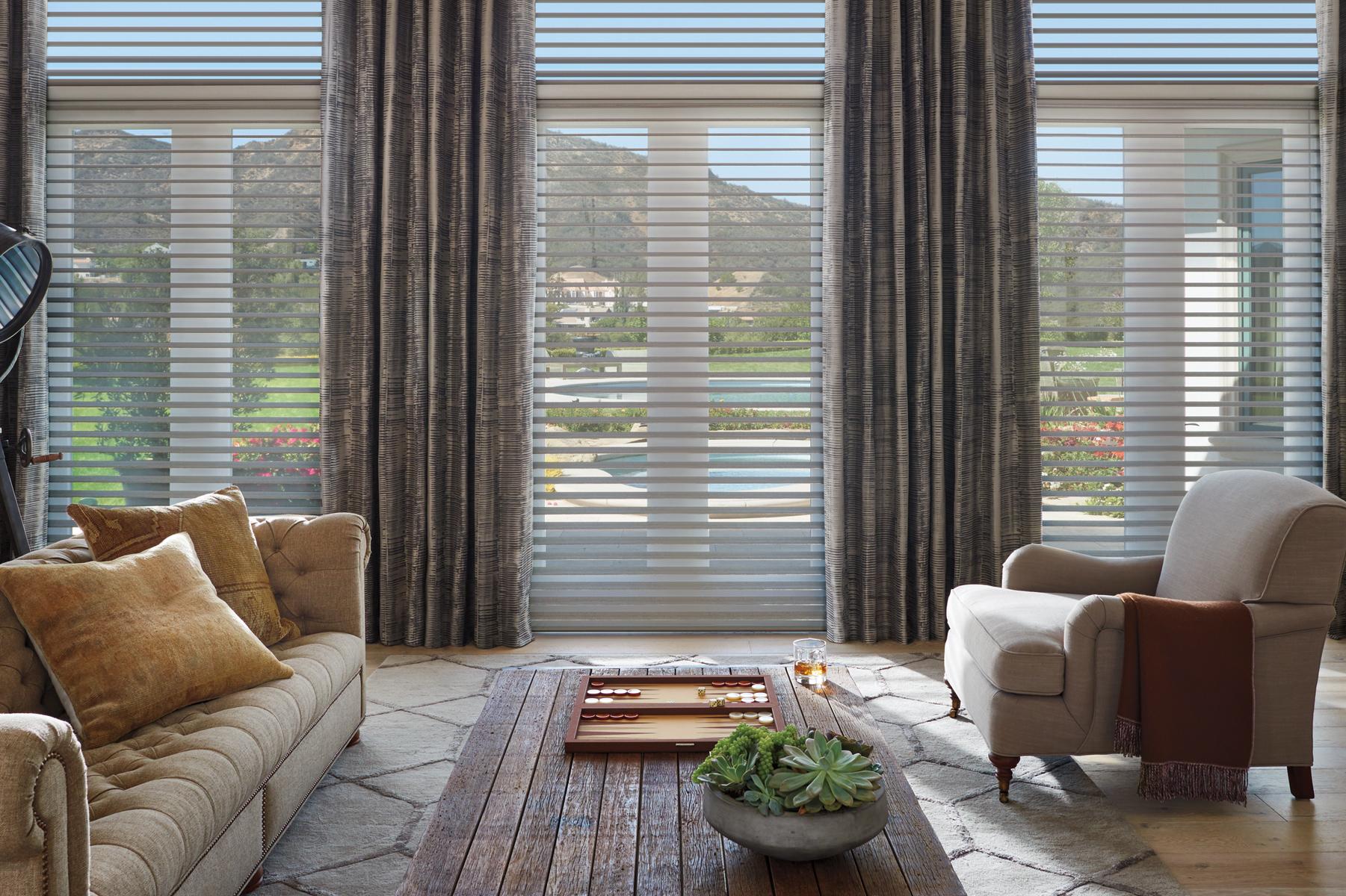 floor to ceiling large windows hunter douglas motorized blinds rocky river 44116 - Hunter Douglas Motorized Blinds